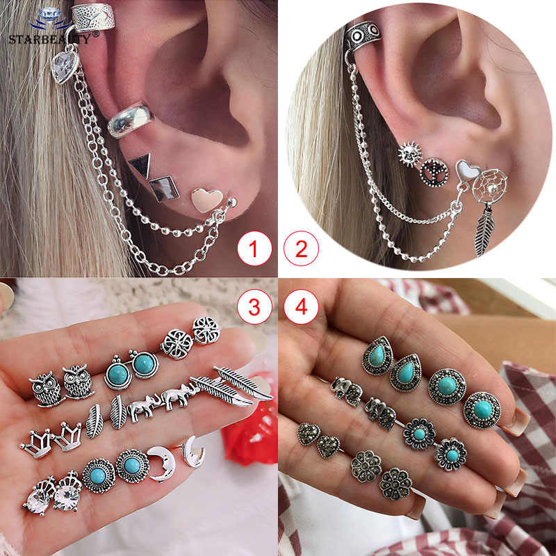 1Set Vintage Green Nature Stone Fake Piercing Long Tussal ear Helix Cartilage earring Fake Tragus Piercing Body Jewellery