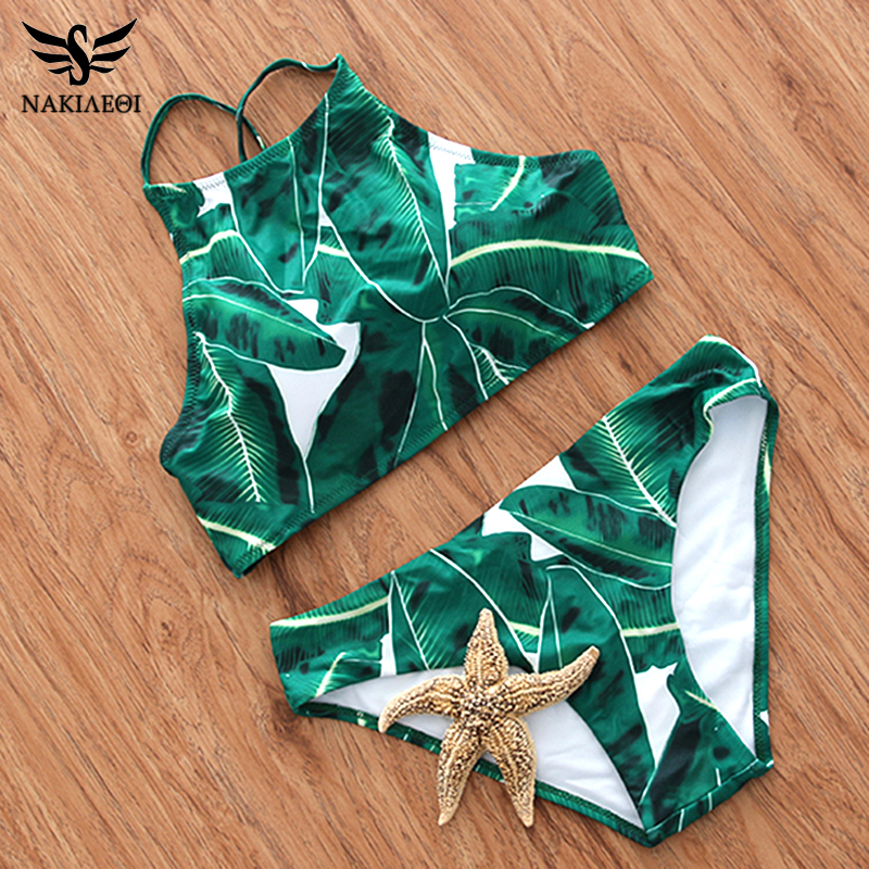 NAKIAEOI 2018 Sexy High Neck Bikini Swimwear Women Swimsuit Brazilian Bikini Set Green Print Halter Top Beach wear Bathing Suits