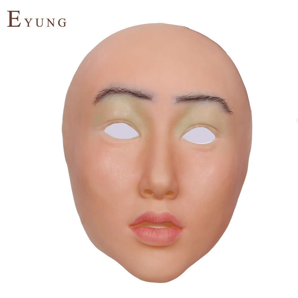 YR-M-shivell Top quality masquerade face for man,crossdresser silicone female face, realistic goddess for halloween,drag queen new sh 15 top quality silicone female masks crossdresser human face mask