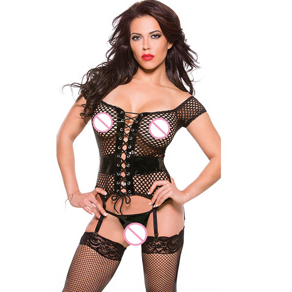 Sexy   Corsets   And   Bustiers   Hollow Out Women's Lingerie   Corset   Femme Black Vinyl Leather Fishnet Patchwork   Bustier     Corset
