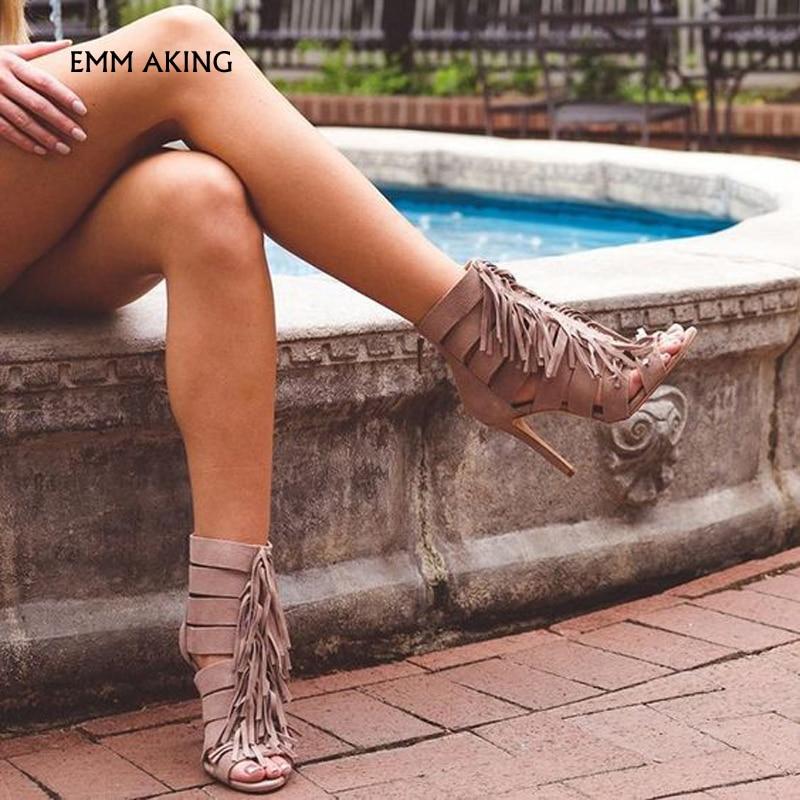 NEW Elegante Borlas Tiras Peep Toe Verão Sandálias Stiletto Alta Saltos Sandálias Das Mulheres Sapatos Da Moda Das Senhoras Mulher Slouchy Sexy - 2