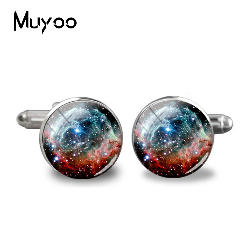 2018 New Red Nebula Galaxy Cufflinks Space Universe Cuff  Wedding Gifts Groom Cufflink Silver Handcraft Cuff Link Glass