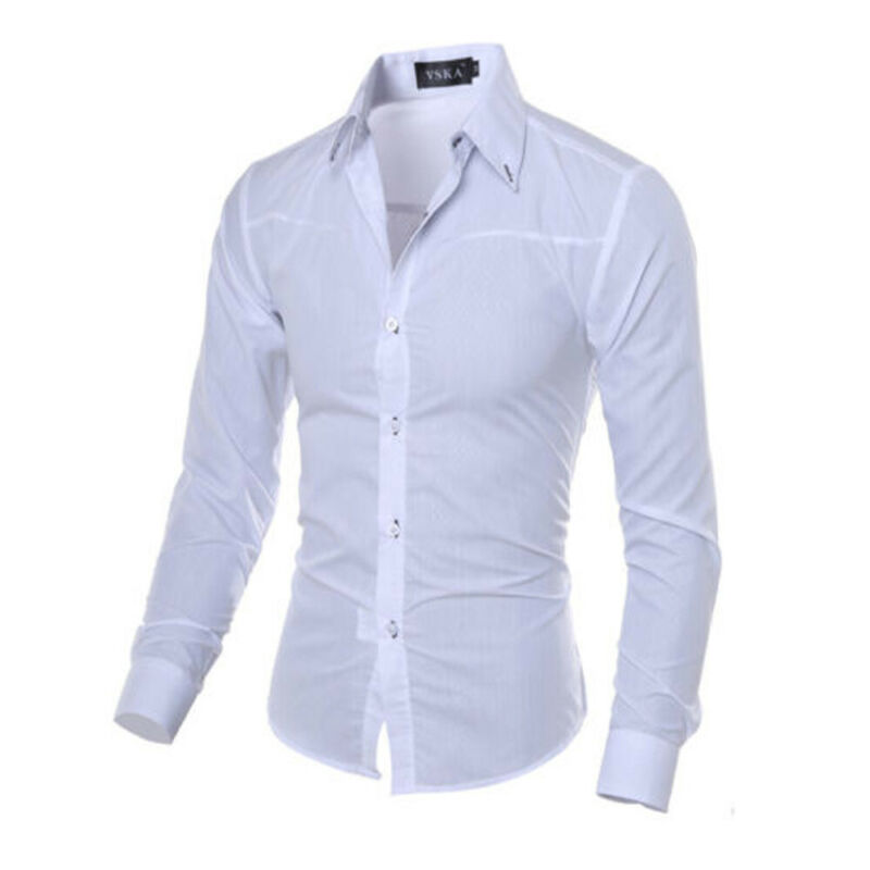 Men's Slim-fit Long-Sleeve Solid Shirt Men's Button Down Long Sleeve Work Casual Shirt Men's Slim-Fit Long-Sleeve Casual Shirt