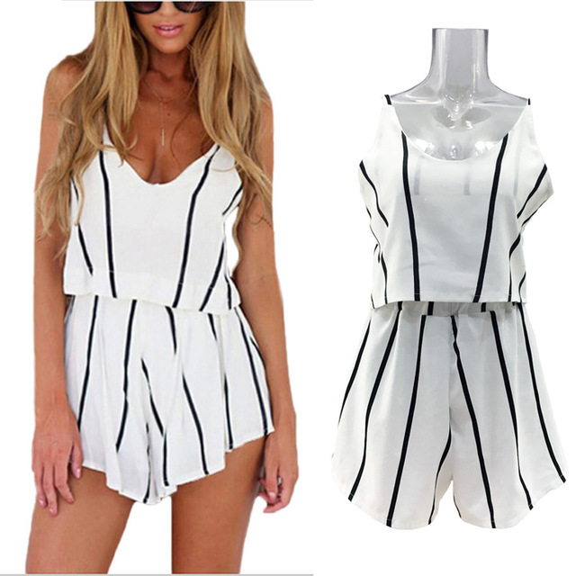 3958880318d Summer Style Stripped Backless Off The Shoulder Jumpsuits Female Sexy Strap  Sashes V-neck Rompers Plus Size