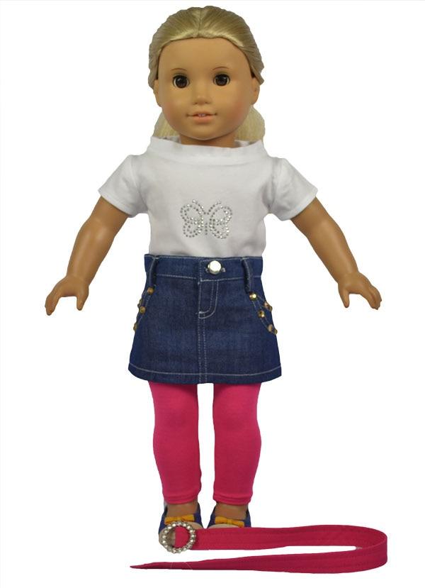 4in 1 Satz American Girl Puppe Kleidung von Shirt + Jeans Rock + ...