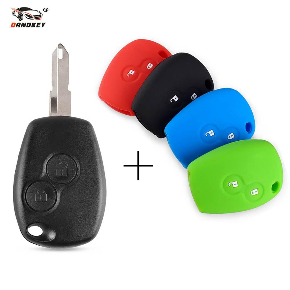 Carcasa de repuesto de 2 botones para llave de coche Dandkey, 2 botones para protector antipolvo para Renault Logan Fluence Clio Kangoo Sandero, envío gratis
