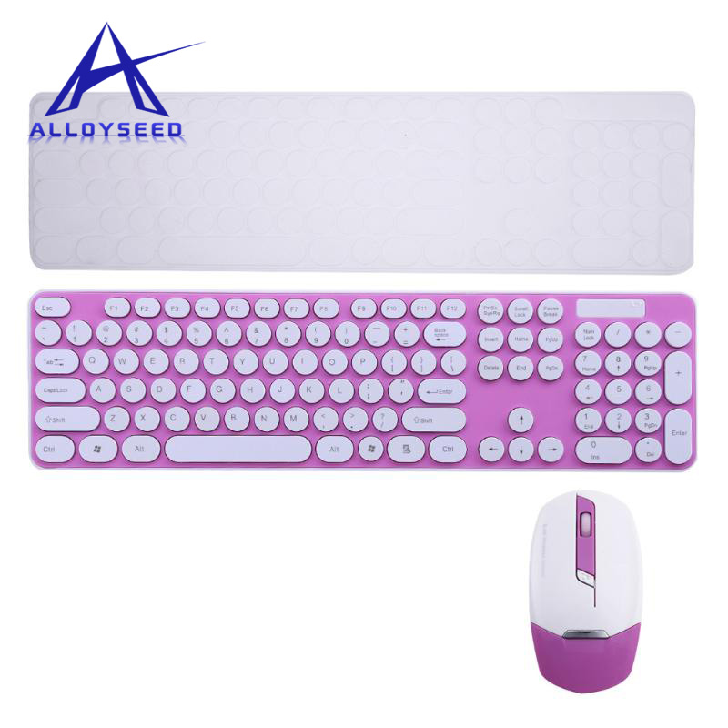 2.4G Wireless Keyboard Mouse Combos With Colorful Round Chocolate Button For Notebook Laptop Computer Gaming
