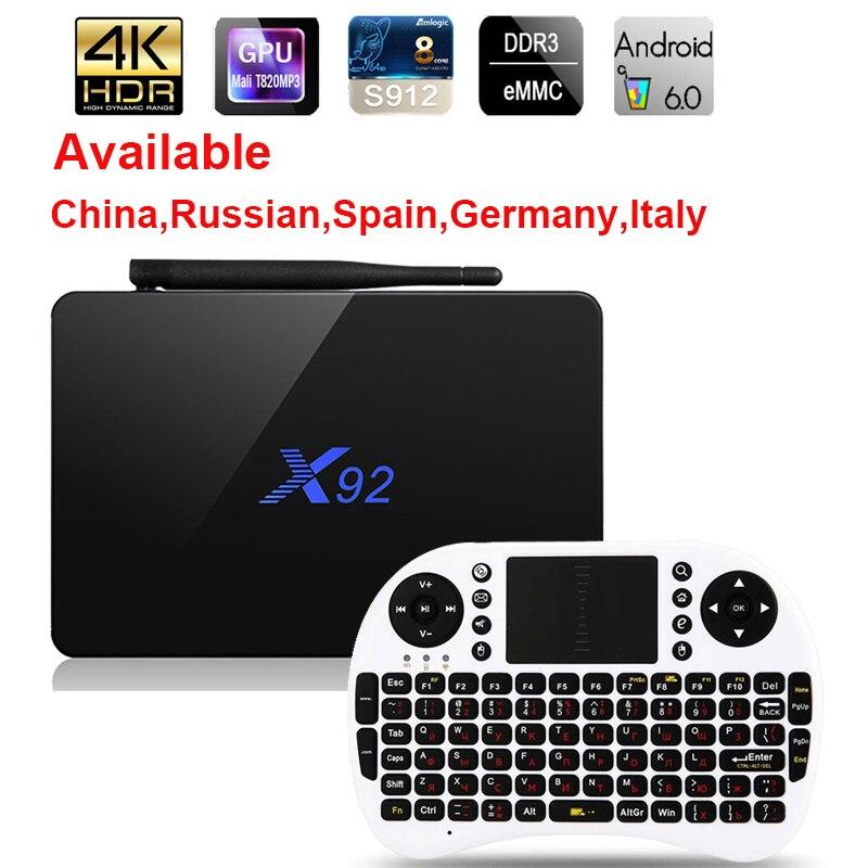 X92 Android 6.0 Caixa de TV Max 3 GB/32 GB Amlogic X92 S912 Octa Núcleo 5G Wifi 4 K Smart Set Top Box BT 3D HD Media player PK X96 A95X
