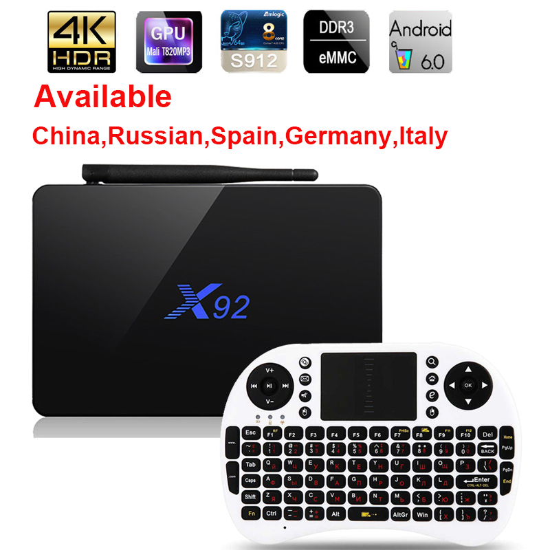 X92 Android 6.0 TV Box Max 3GB/32GB X92 Amlogic S912 Octa Core 5G Wifi 4K Smart Set Top Box BT 3D HD Media player PK X96 A95X