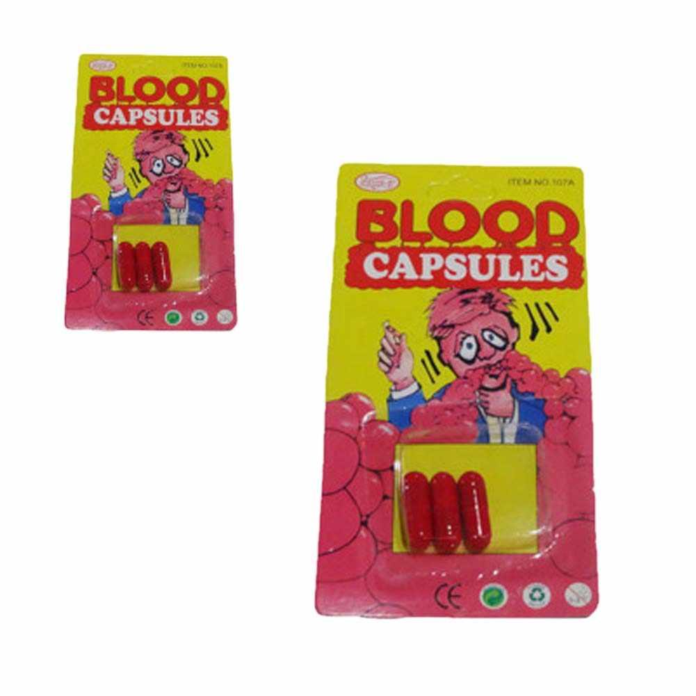 1 adet komik kan hap Trick oyuncaklar Whimsy Prop kusma kan kapsül April Fool günü şaka oyuncakları