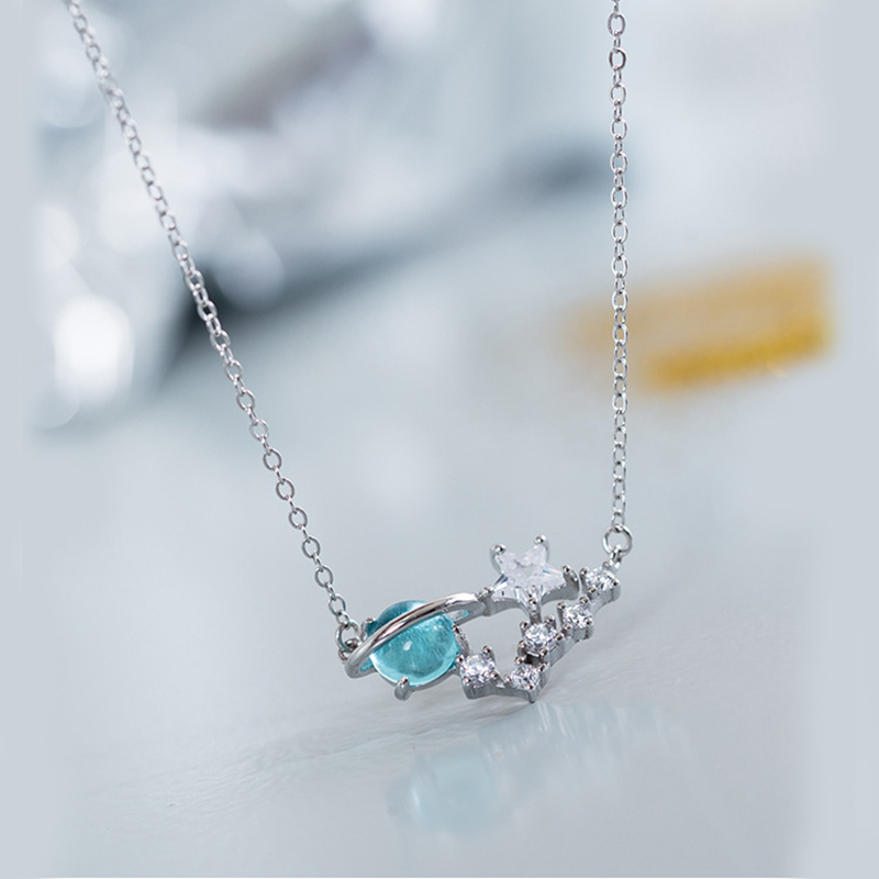 XIYANIKE 925 Sterling Silver Blue Glass Star Moon Necklace Simple Starry Fashion Planet Clavicle Chain For Women Bijoux VNS8570