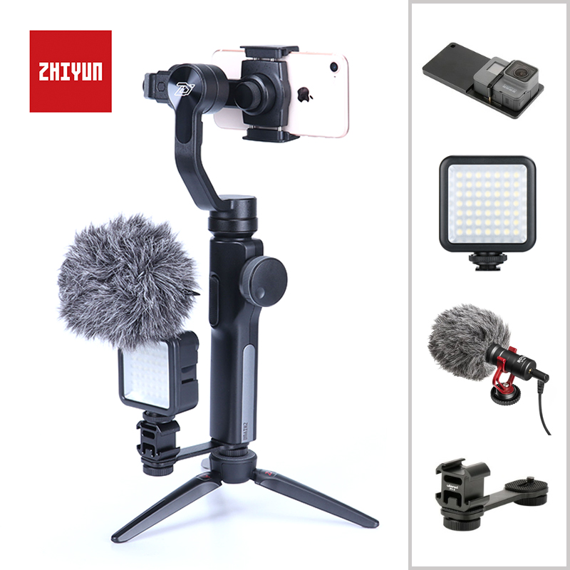 Zhiyun Smooth 4 3-Axis Handheld Gimbal Stabilizer for iPhone X Samsung S9 Huawei P20 Xiaomi 6 Smartphone Gopro 5 4 3 in Stock