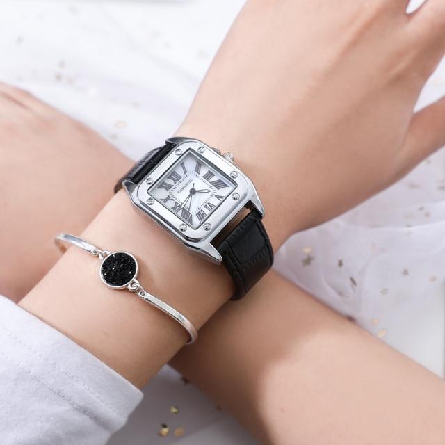 Fashion classic retro Roman scale ladies watch leather bracelet watch quartz wat