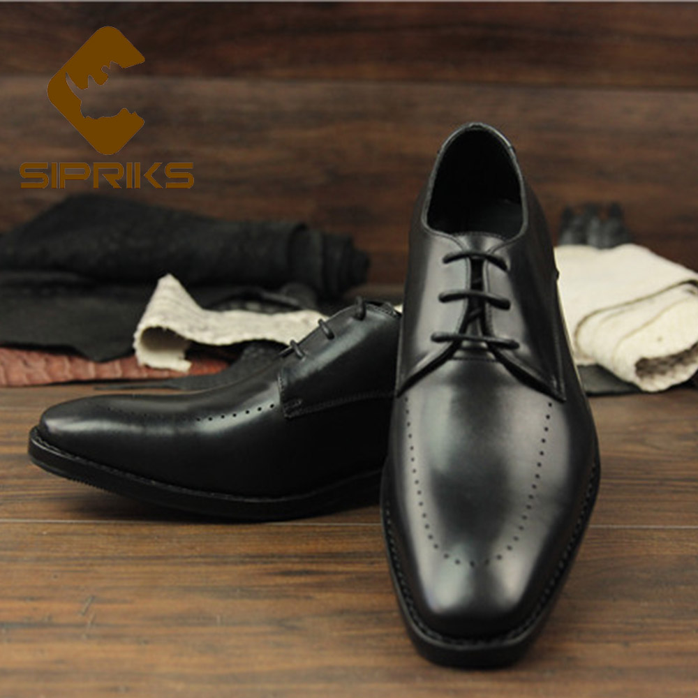 Sipriks Mens Genuine Calf Leather Dress Shoes Elegant Black Goodyear Welted Shoes Square Toe Lace Up Social Shoes Boss Business sipriks luxury mens braided leather shoes elegant mens woven derby shoes genuine leather dress shoes boss official business work