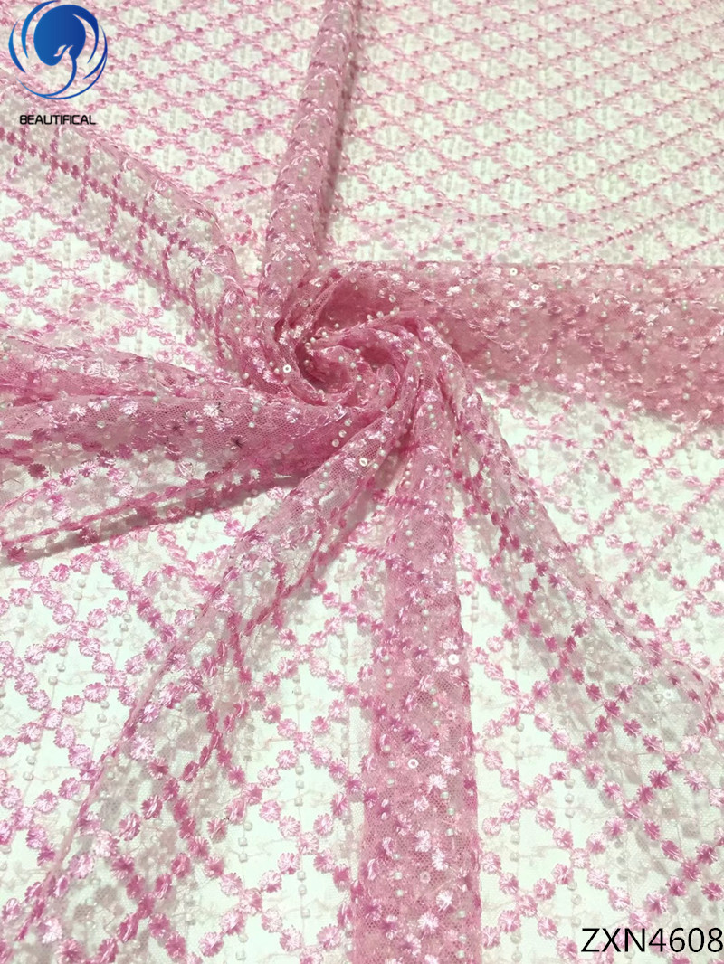 BEAUTIFICAL pink sequin lace fabric african lace fabric 2018 high quality lace 5yards nigerian lace fabric for dresses ZXN46BEAUTIFICAL pink sequin lace fabric african lace fabric 2018 high quality lace 5yards nigerian lace fabric for dresses ZXN46