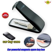 Чехол для автомобильного ключа, автомобильные аксессуары, мощный магнит, раскладушка, автомобильная запасная коробка для аварийного ключа, сетка для ключа, защитный чехол для автомобиля