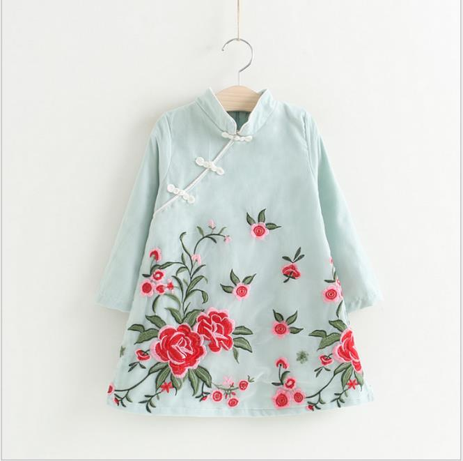Clearance,Girls dress, spring cheongsam dress, long sleeves, Tang loaded baby, Chinese national wind embroidery national wind embroidery lace up neck dress