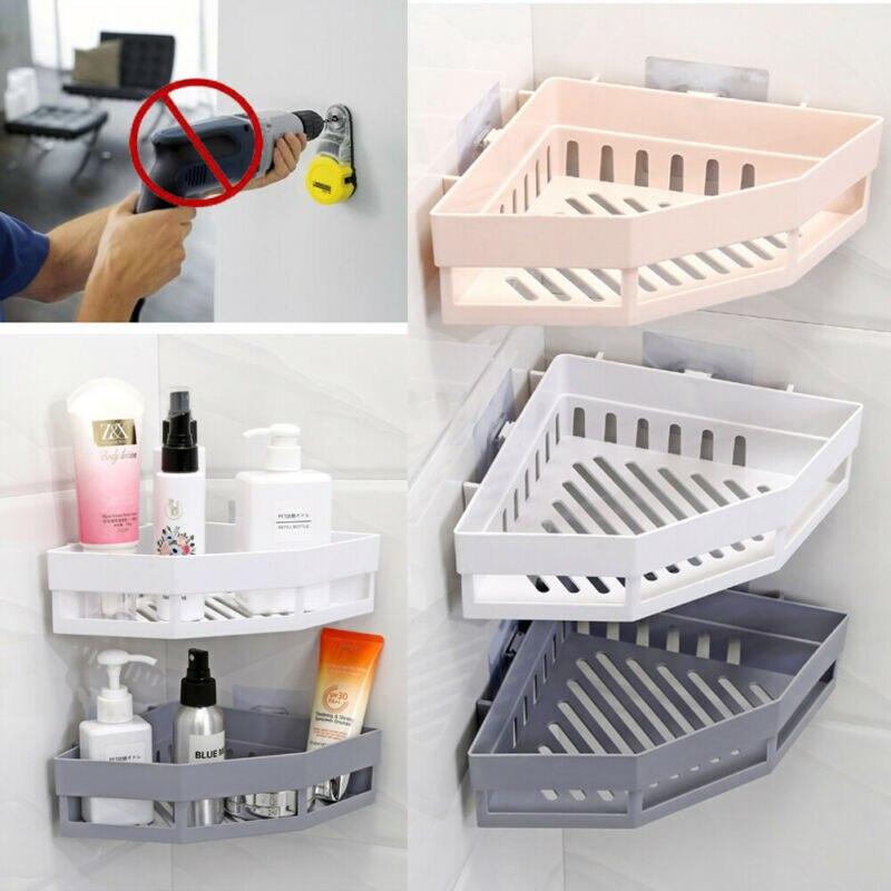 Suction Wall Triangular Shower Caddy Shelf Bathroom Corner Bath Rack Storage Holder Organizer Shelves