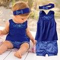 Moda para bebé conjunto de niña recién nacida mameluco con banda elástica para la cabeza y pantalones ropa infantil