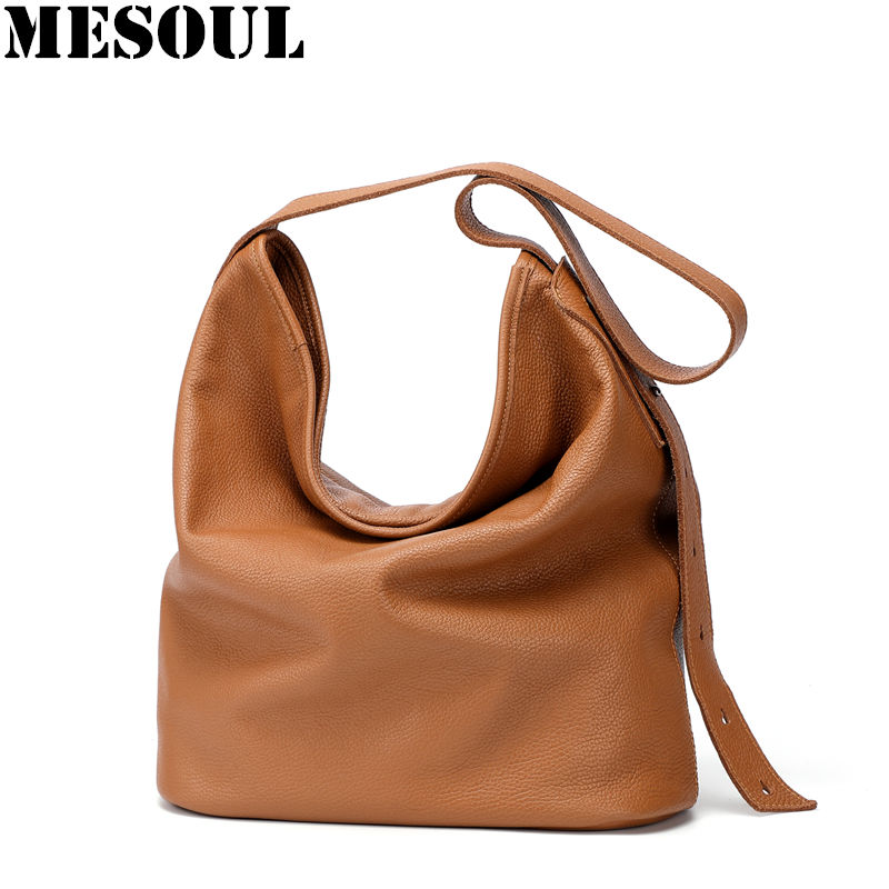 Women Shoulder Bags Soft Genuine Leather Bucket Bag Female Casual Tote Luxury Classic Brown Long Strap Big Leather Crossbody Bag new korean tassels bead soft super fiber leather bucket bag composit bags for women tote crossbody shoulder bags clutch 202