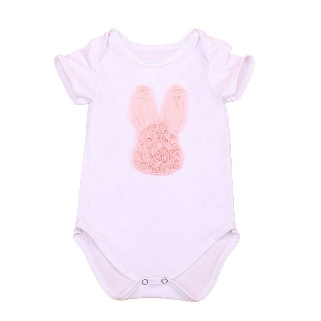 64ebfbcba3 Happy Easter Bunny Applique White Bodysuit Macacao Ropa Bebe Jumpsuit Body  Baby Girl Bodysuits Girls Clothes Easter Outfits