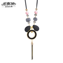 ASACH Candy Color Acrylic Geometry Tassel Pendant Necklace Fashion PU Leather Rope Sweater Chain Maix Necklaces For Women collar