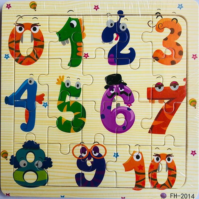 Деревянные пазлы игрушки 20 шт. дети радость Превосходное качество головоломки деревянные Мультяшные животные Развивающие головоломки игрушки для детей - Цвет: 14