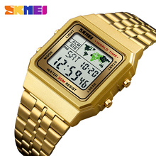 3ff628f935f SKMEI Luxuly dos homens Relógio De Pulso de Ouro Dourado Saatler Digital  Relógios Marca de Topo