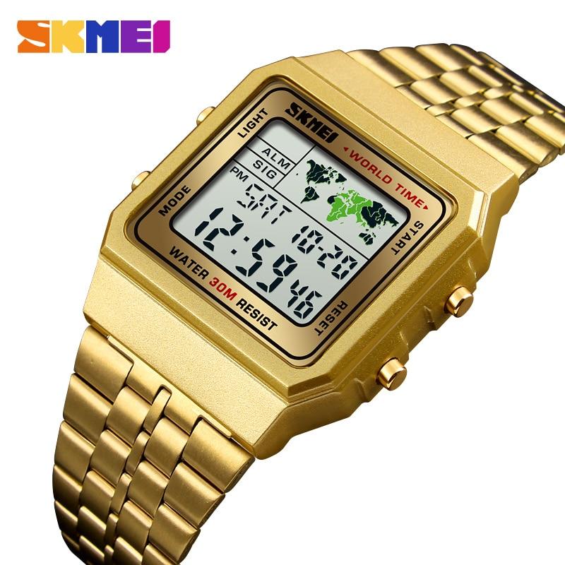 SKMEI Luxuly Men's Wrist Watch Gold Golden Digital Watches S
