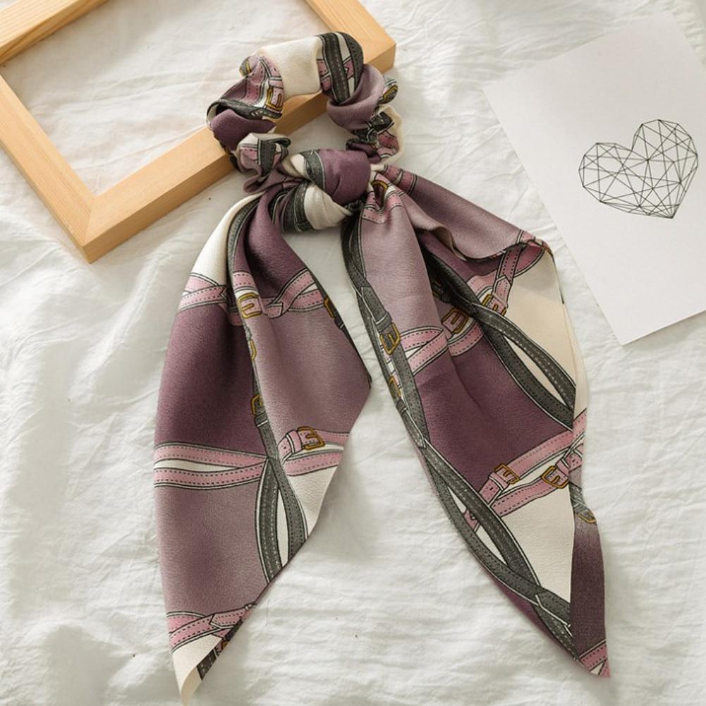 Элегантные резинки для волос с большим цветком и леопардовым принтом; эластичные резинки для волос для женщин и девочек; завязанные длинные резинки; шарф; аксессуары для волос - Цвет: 2
