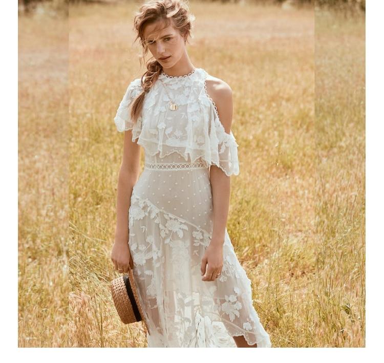 Белое кружево вышивка Макси платья Для женщин летние шелковые с открытыми плечами Нерегулярные Сексуальные длинное платье короткий рукав