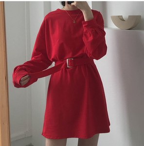 Image 3 - 7 colors 2019 spring and autumn solid color Long Sleeve dress Women Korean style Dress women with belt (X218)