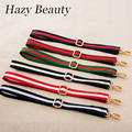 Hazy beauty 2017 New cotton women handbag guitar strap bohemian stylish bag stripe fashion slogan girls shoulder bag belts SS110