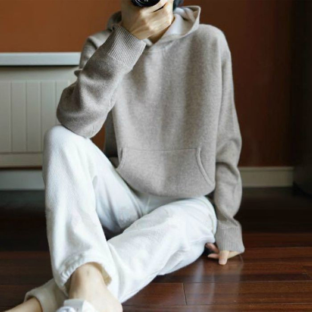 Spring Winter Cashmere Wool Sweater Women Sweaters Knitted Hooded Warm Ladys Grade Up Jumpers and Pullovers with Pockets