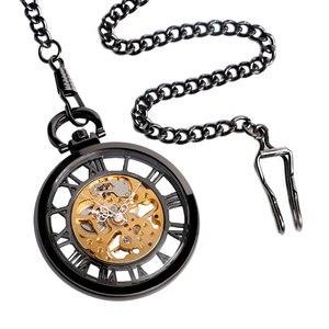 Image 5 - Steampunk negro esqueleto números romanos ver a través del reloj de bolsillo cuerda a mano mecánica reloj Fob con cadena Unisex regalo de Navidad