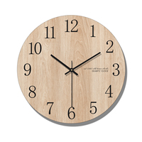 Arabic Numeral Design Round Wooden Digital Wall   Clock   Fashion Silent Living Room Wall Decor Saat Home Decoration Watch Wall Gift