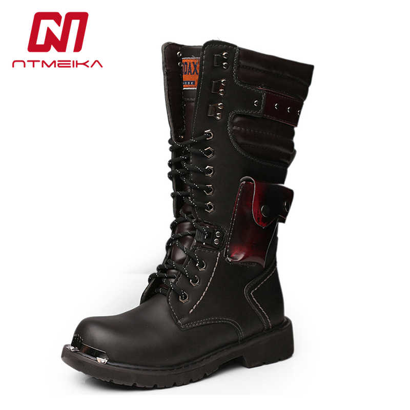 da987a543b54be Detail Feedback Questions about 2019 Fashion Men Boots Metal Decoration  Punk Rock Steel Toe Military Army Combat Boots Men Lace Up Rubber Sole  Motorcycle ...