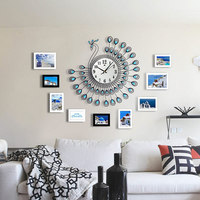 3D Peacock DIY Wall Clock Home Living Room Decoration Modern Decor Art Design W30
