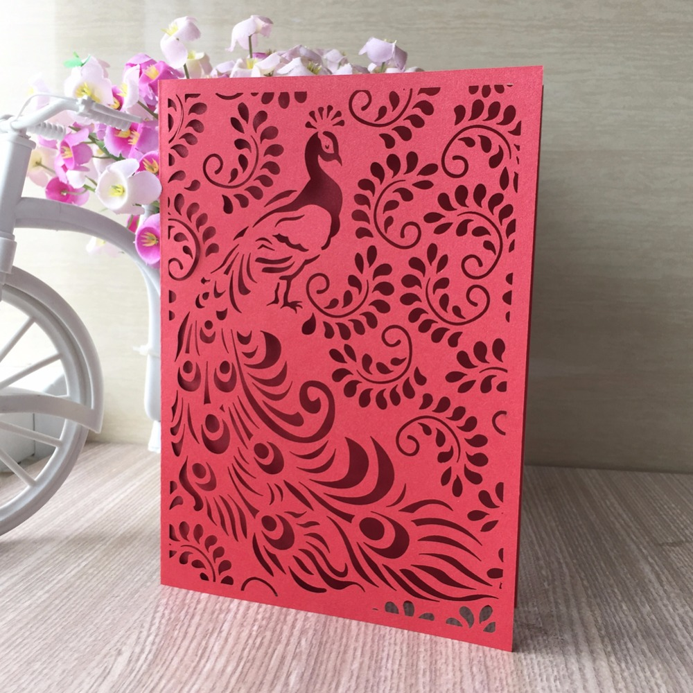 50Pcs Tiffany Blue Wedding Invitation Cards Unique Phoenix Design ...
