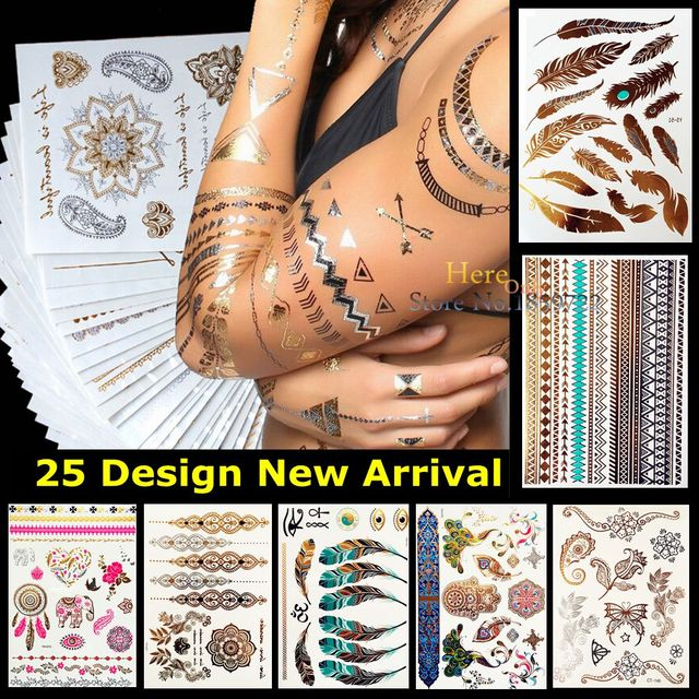 Peacock Feather Design Hys 51 Flash Metallic Temporary Tattoo Stick