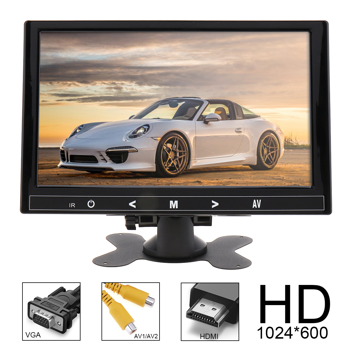 9 Inch 16:9 HD 1024*600 TFT LCD Color Car Rear View Monitor 2 Video Input DVD VCD Headrest Vehicle Monitor Audio Video HDMI VGA купить в Москве 2019