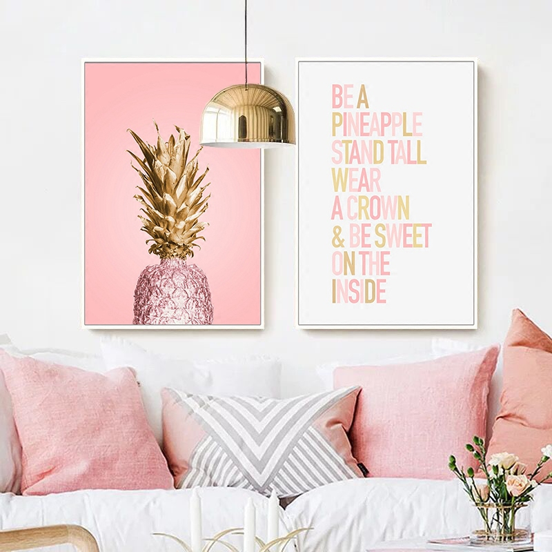 Pink-Ananas-Posters-Plants-Pineapple-Wall-Art-Pictures-Nordic-Canvas-Landscape-Painting-Modern-Living-Room-Print