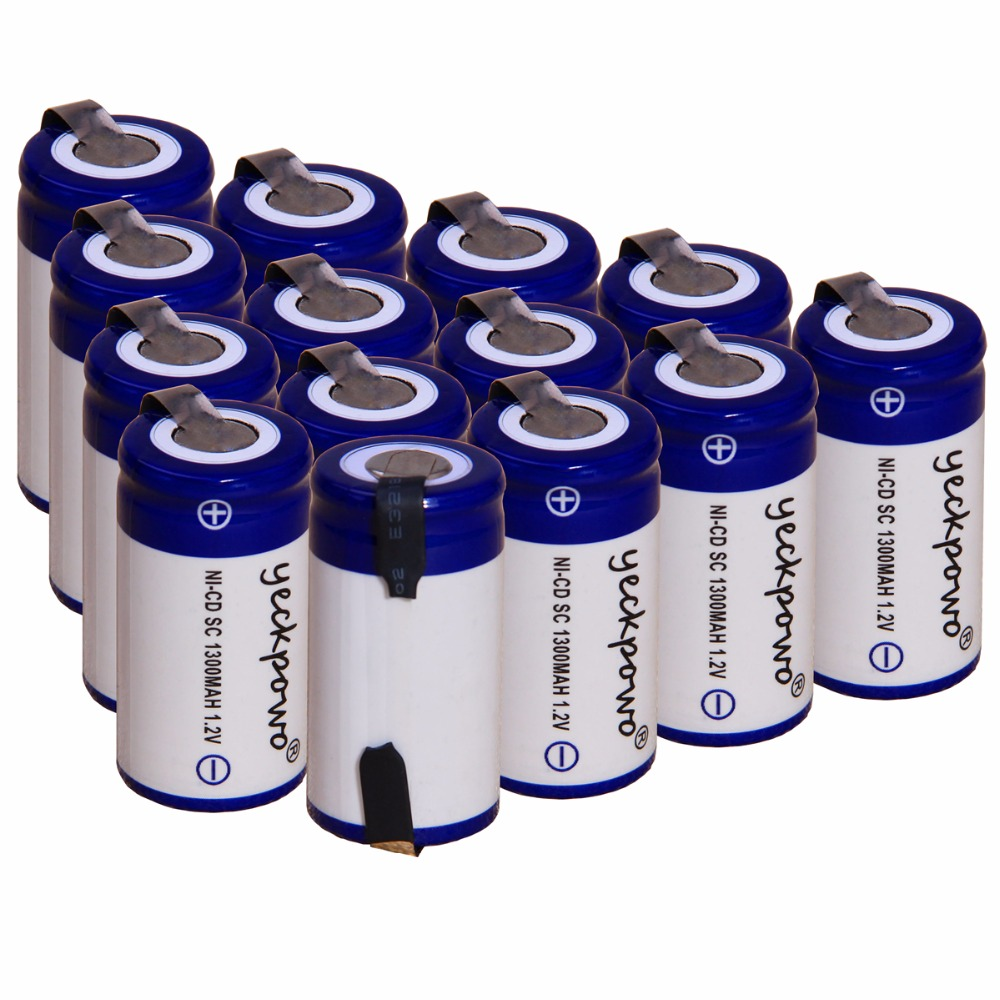yeckpowo 14 pcs SC 1300mah 1.2v battery NICD batteries for makita bosch B&D Hitachi metabo dewalt for emergency light toy
