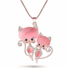 Cute Crystal Cat Necklace Pendant