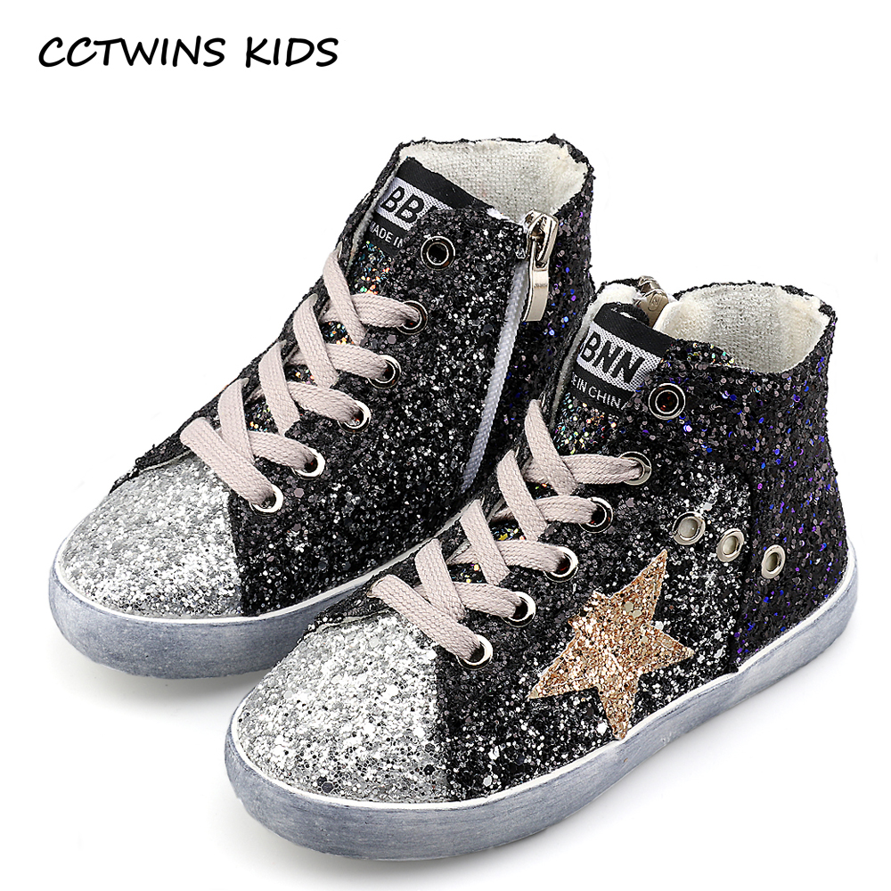 CCTWINS KIDS 2017 Children Boy Brand Glitter High Top Sneaker Baby Girl Fashion Trainer Toddler Pu Leather Sequins Shoe F1701