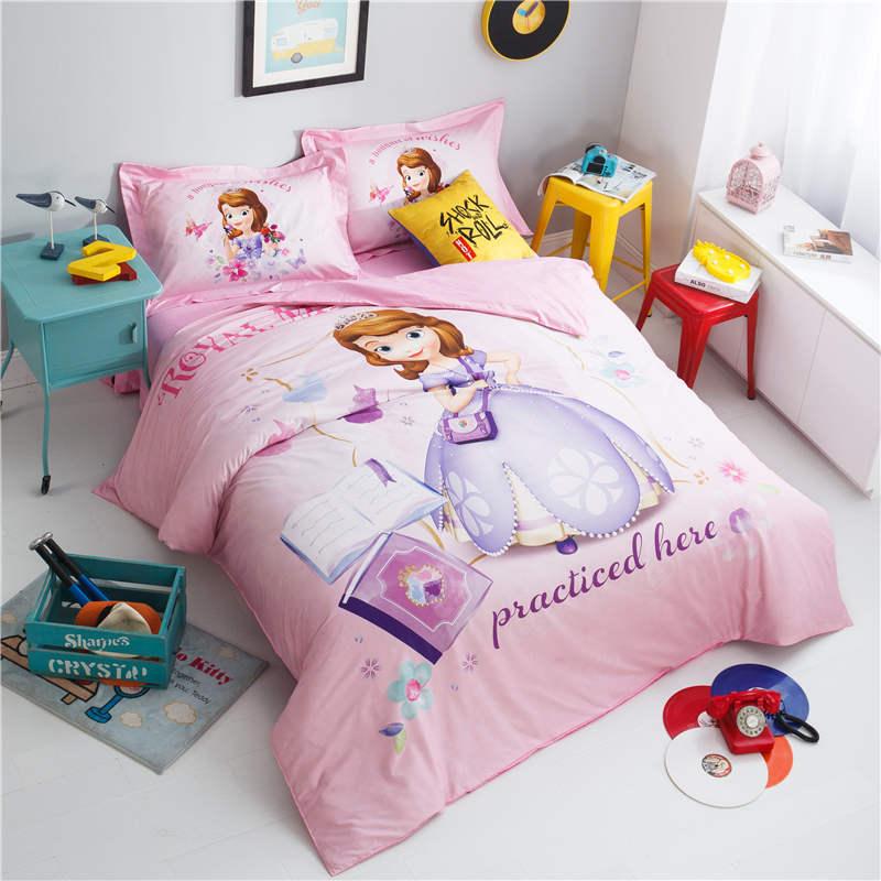 US $75.72 30% OFF|pink princess bedding 3D disney bedroom decor girls  pillowcases kids cartoon home textile egyptian cotton bed linen queen  size-in ...