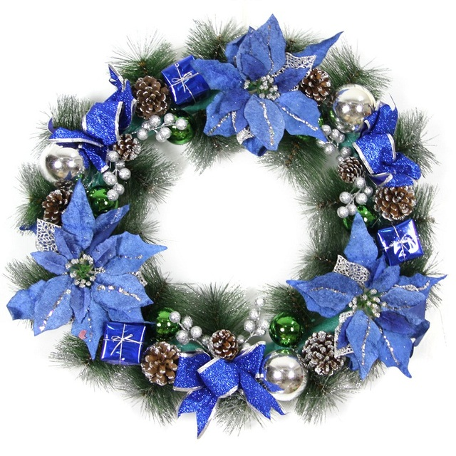 blue garland diameter 40 50cm 60 christmas wreath christmas tree decoration party home door and wall