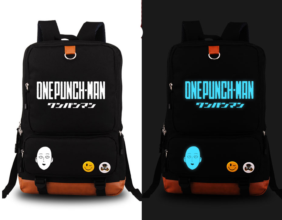 New One Punch Man Saitama cosplay Backpack Anime Canvas Student Luminous Schoolbag Unisex Travel Bags купить недорого в Москве
