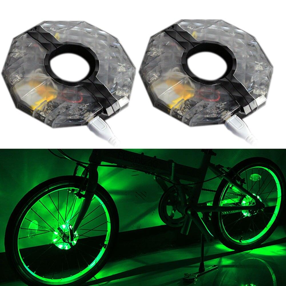 1/2pcs Rechargeable LED RGB Colorful Bike Wheel Hub Light Waterproof Bicycle Spoke Lights For Safety Warning Decor DAG-ship