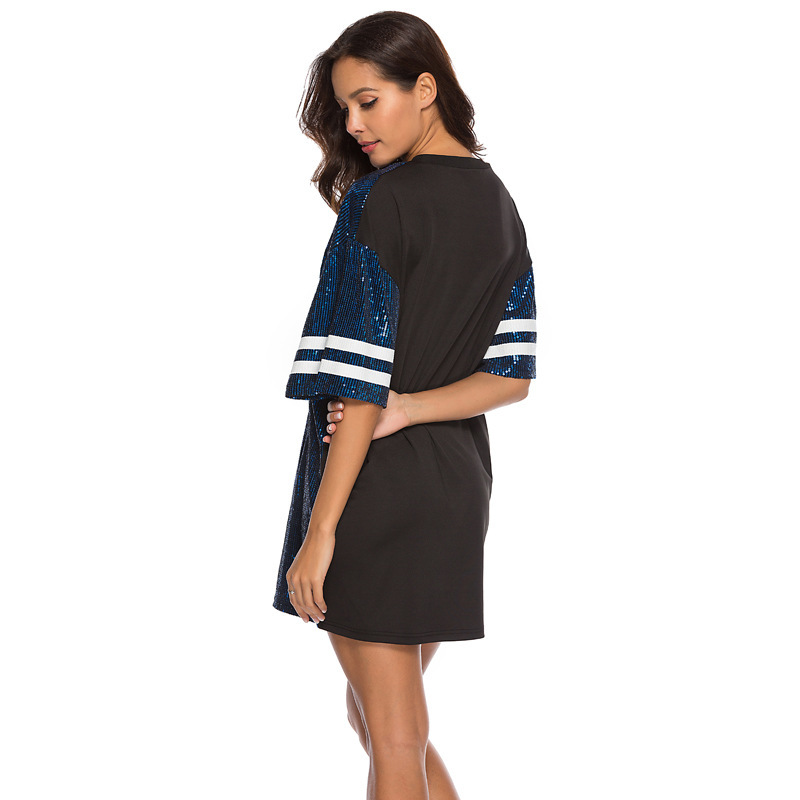 Sequins Print Loose Short Sleeve Dress 25